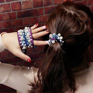 Bssxo les cheveux attachés-femmes en ligne ins tête rouge bracelet anneau cheveux corde couverture en cuir à double usage bande caoutchouc couleur nouée perles caoutchouc cordes ba