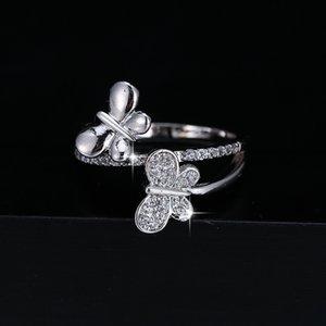 Anneaux de mariage Micro Inlaid Bague Cubic Zirconia Bague Femmes Papillon Argent Plaqué Double Couche Fashion Charm Faire Engagement Bijoux