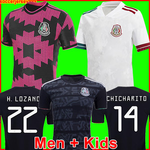 최고 멕시코 축구 유니폼 멀리 흰색 Camisetas 20 21 CHICHARITO LOZANO DOS 산토스 2020 축구 셔츠 남성 + 어린이 키트 유니폼