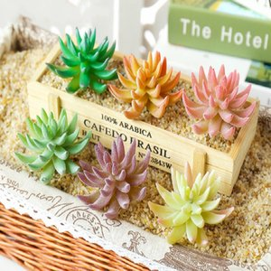 Diameter=7.5cm Mini Bonsai Flocking Artificial Succulents Plants Flower Arrangement Fake Plants Home Garden Office Decor