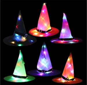 sombrero de Halloween LED Dance Party decoración luminosa sombrero sombrero de la bruja de Halloween Asistente de vestuario del envío (10pcs / pack)