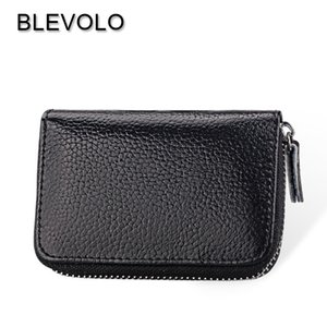 BLEVOLO 100% Real Leather Business Card Package Zipper Design Men Credit Card Holder Coin Wallet For Women Gifts ID Holders Case