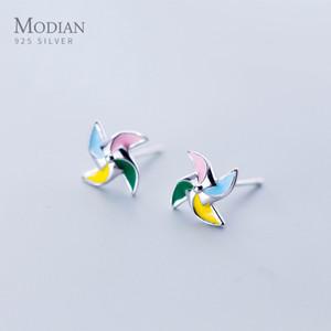Modian Exquisite Multicolor Enamel Lucky Windmill Fashion Stud Earrings For Women 100% 925 Sterling Silver Fine Female Jewelry