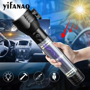 LED Emergency Light Solar USB Rechargeable Torch Safety Hammer Power Bank Compass Survival Tool For Travel Camping
