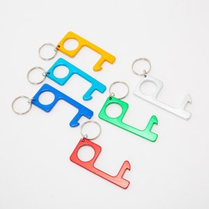 Berührungslose Schlüsselanhänger Opener Aluminiumlegierung 7cm Bier Flaschenöffner Non-Touch-Taste Aufzug Werkzeug mit Schlüsselring HHA1318