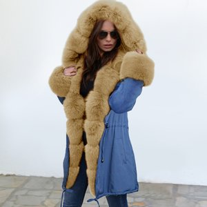 Kadın Kış Parkas Moda Uzun Stil Parkas Coat Kürk Yaka ile 2020 Kış Yeni Varış Coat Her iki taraf da S-2XL giyebilir olabilir