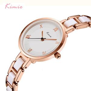 Kimio Женщины Белый Имитация керамический браслет Часы Простой Большой набор Дамы кварцевые часы Roman Scale Наручные часы