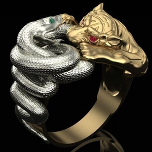 FDLK Creative Gifts Gold Color Silver Color Rings Snake Panther Battle Punk Conf Mens Hip Hop из нержавеющей стали