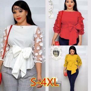 2020 S-4XL Women Fashion Polka Dot Blouses Sexy Mesh Sheer See-through Shirts Gauze Tull Tops Blusas Femininas