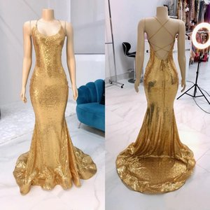 Sparkly Gold Sequined Merrmaid Evening Dresses Sexy Backless Sweep Trail Girls Formal Occasion Party Prom Gowns 2021 Arabic Aso Ebi AL7132