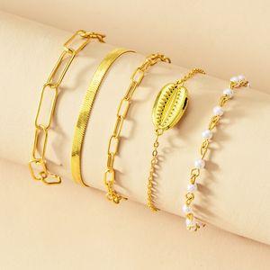 Hot Sale 5 Pcs lot Fashion Women Bohemia Quality Gold Plated Pearls Bracelet Set for Women Shell Chain Braclets Bohemia Summer Jewelry