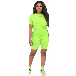 2019 new women solid sporting casual two piece set short sleeve tee top above knee pants suit tracksuit outfit 4 color GLD8286
