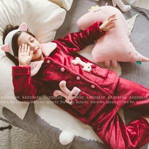 Christmas Winter Pajamas Girl Boy Flannel Pyjamas Sleepwear Kids Coral Fleece Pijamas Winter Fur Plush Coats Pants Clothing Suit