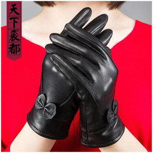 New Arrival women real sheepskin leather gloves Bow solid color soft warm female genuine sheep leather glove winter autumn