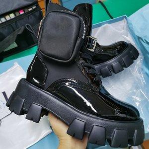 جديد Rois الأحذية نايلون ديربي الكاحل مارتن أحذية النساء معركة الأحذية الجلدية القتالية الأحذية السوداء المطاط الوحيد منصة الأحذية النايلون الحقيبة