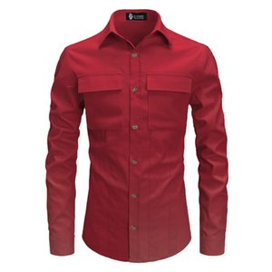 Double Pockets Front Fashion Polyester Men's Shirts Long Sleeve Pure Color Male Tuxedo Shirt Camisas Hombre Streetwear
