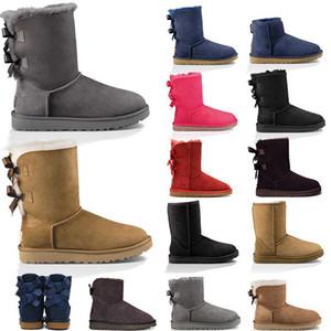 2020 nouvelles bottes de concepteur femmes fille bottes de neige classiques Bowtie arc court cheville botte de fourrure noir taille mode châtaignier hiver 36-41