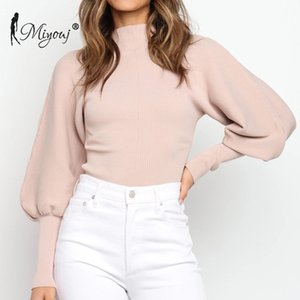 Miyouj Branco Gola Feminino malhas camisola cor sólida Inverno Pullover Streetwear luva Lantern Mulher Camisolas Outono