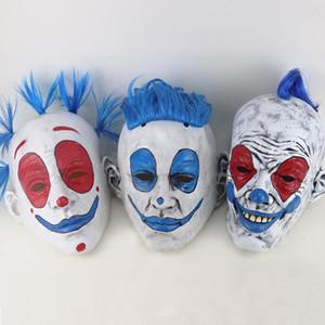 Halloween drôle de clown masque pour partie de mascarade de Halloween rouge yeux perruque bleu cirque Dance Party cosplay masque facial latex