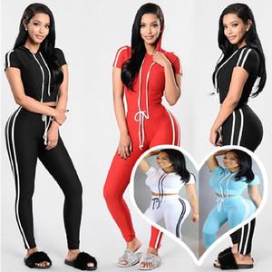 É colorido Primavera e no Outono Mulheres Casual Ribbon Roupa Moda de Nova Slim Fit costura curta T-shirt Calças 2-peças Sports Suit