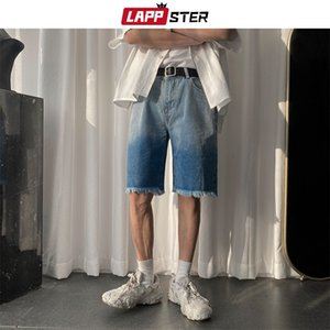 LAPPSTER Summer Men Korean Tie Dye Jeans 2020 Mens Japanese Streetwear Hip Hop Denim Shorts Male Casual Black Sweatshorts 200922