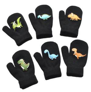 Guantes de invierno de los niños 1-5Y espesan preciosas muchachas de los muchachos cálida lana de tejer guante lindo patrón de dinosaurio de la historieta F91101 Bobby niños Guantes Venta