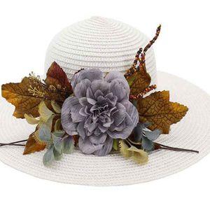 Viaggi Cappello per il sole di nuovo modo di estate di tendenza Flowers Beach Cappello di paglia di estate delle signore della visiera esterna Via Tide Cap