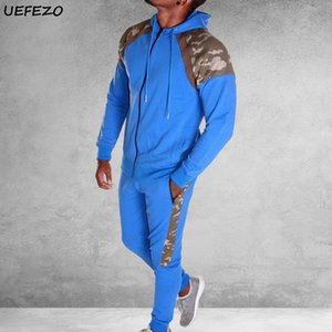 UEFEZO Erkekler Eşofman Seti Camo Patchwork Ter Suit Seti Erkek Spor Suit Hoodie Kazak Sweatpants 2 Parça Jogger Kıyafet