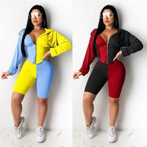 Sexy Kontrast-Farben-Langarm Zipper Ausschnitt Mode Anzüge Damenmode 2-teiliges Set Sommer-Herbst-Damen Designer Tracksuits