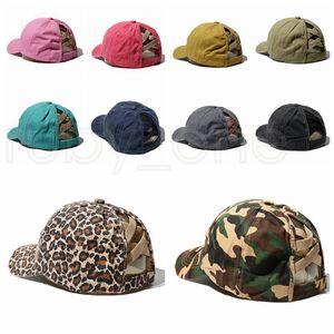 Ponytail Baseball Caps Washed Cotton Messy Buns Hats Summer Trucker Pony Visor Cap Cross Criss Hat Snapbacks Party Hats 10styles RRA3639