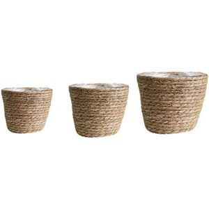 3pcs perfetta tenuta coperta Planter all'aperto carrello Storage Box Seagrass Flower Pot
