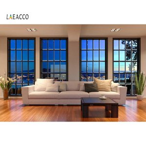 Laeacco Fotografia Backdrops Modern Living Room Sofá Janela City Night Scenic Interior Photocall Foto fundo Photo Studio