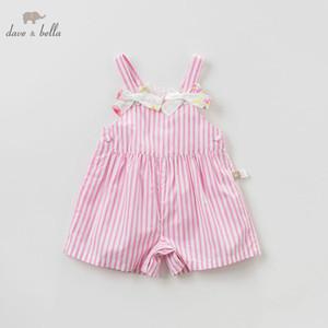 estate bella bambino DBF9599 Dave belle ragazze complessive a righe 100% vestiti tute di cotone bambini boutique tuta neonata di
