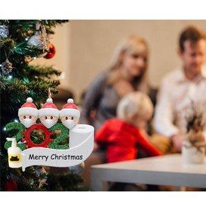 Decorazione natalizia Compleanni del partito del prodotto regalo personalizzato famiglia di 2 a 7 Ornamento Pendente con il viso maschere disinfettante per le mani