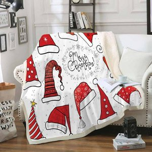 Red Hat Рождество Throw Одеяло Soft Sherpa Coral Fleece Blanket Cozy Blanket Nap Party Travel для детей взрослых