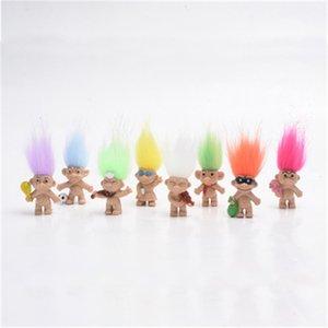 80pcs / lot 4,5 centimetri Colorful capelli Troll Doll membri della famiglia Papà mamma della ragazza del neonato Dam Trolls kindergartenToy regalo Felice Love Family