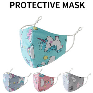 Children unicorn masks individually wrapped pure cotton 3d washable breathable thin section for boys girls kids reusable mask
