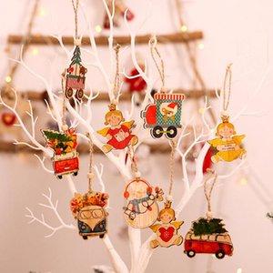 6PCS Multi Styles Printed Weihnachten Holz Anhänger Ornaments Holz-Handwerk Geschenke DIY hängende Verzierungen Weihnachtsschmuck