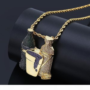 Bottle Street Necklace Hip-hop Colorful Zircon Necklace Men's Gold Bracelet Hot Selling In Europe and America