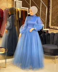 Blue Muslim Prom Dresses With Sleeves High Neck A Line Long Formal Evening Dresses 2021 Cheap Arabic Evening Party Gowns Full Length