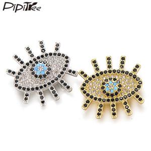 Pipitree Lange Wimpern Evil Eye Charms passen 10mm Milanaisearmband Clear Black CZ Zircon Slider DIY Korn-Charme für Schmuckherstellung