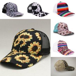 Moda Ayçiçeği 7 Stiller İnek Leopar Gökkuşağı Baskı Beyzbol Şapka Kadınlar Erkekler Serape Mesh Siperlik Açık Hat DDA549 Caps