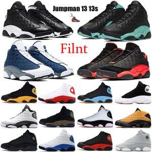 Flint Jumpman 13 13s Männer Basketball-Schuh-Reverse-He Got Game Cap und Gown Black Island Grün Bred Gericht lila Carmelo Anthony Turnschuhe