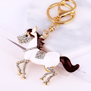 Fashion Alloy Oil Painting Horse Keychain Rhinestone Crystal Lovely Animal Jewelry Women Girl Party Handbag Pendant Ornaments