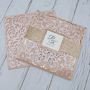 New Blush Pink Personalized Print Laser Cut Wedding Party Cards with Glitter Belly Band And Tag DIY Gold Mirror Insert Bridal Shower Invites
