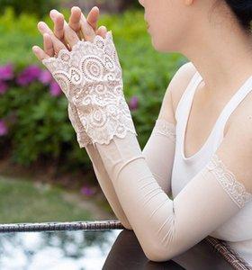 Womens summer long gloves sunscreen thin long anti-uv lace glove oversleeps sexy fingerless lace gloves arm sleeve 45cm R2981