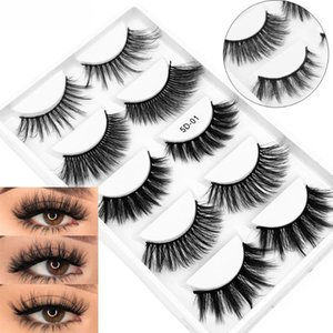 5 Pairs 5D Fuax Mink Hair False Eyelashes Crisscrossing Wispies Flared Eyelashes Extension Handmade Eye Beauty Makeup Tools