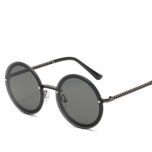Vintage Rimless Round Sunglasses for Women Chain Shape Small Sunglasses Female Sun Glasses Eyewear UV400