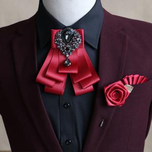 İngiliz Kore Rhinestone Bow Tie Broş Cep Havlu Seti El Yapımı Erkek Düğün Damat aksesuarları 3pcs Takı Özel Olabilir