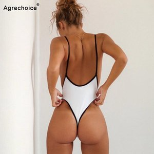 2020 New Sexy One Piece Swimsuit Women Swimwear Thong Monokini Swimsuit High Cut Backless Bathing Suits Swimming Suit For Women T200114 PBYB